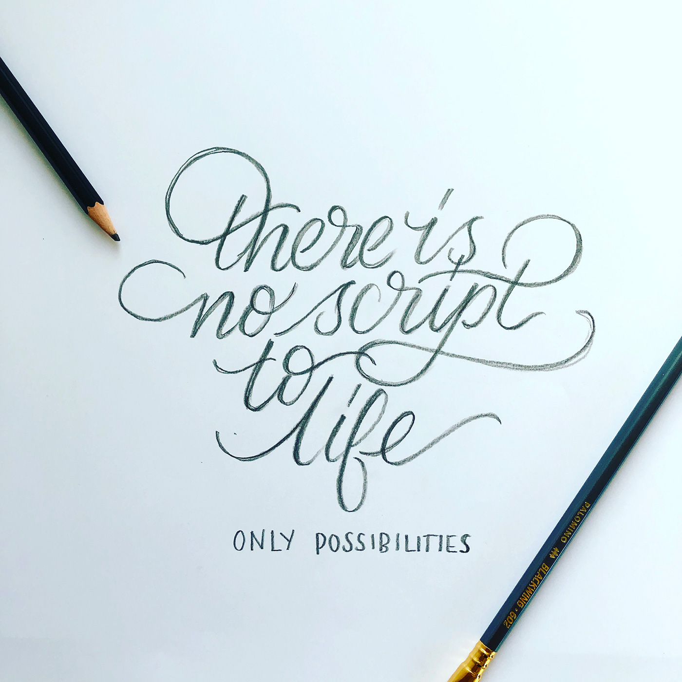 'Script to life' lettering sketch